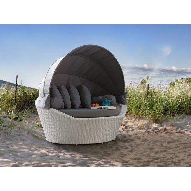 Salon de jardin - Salon de plage - Panier en rotin blanc SYLT