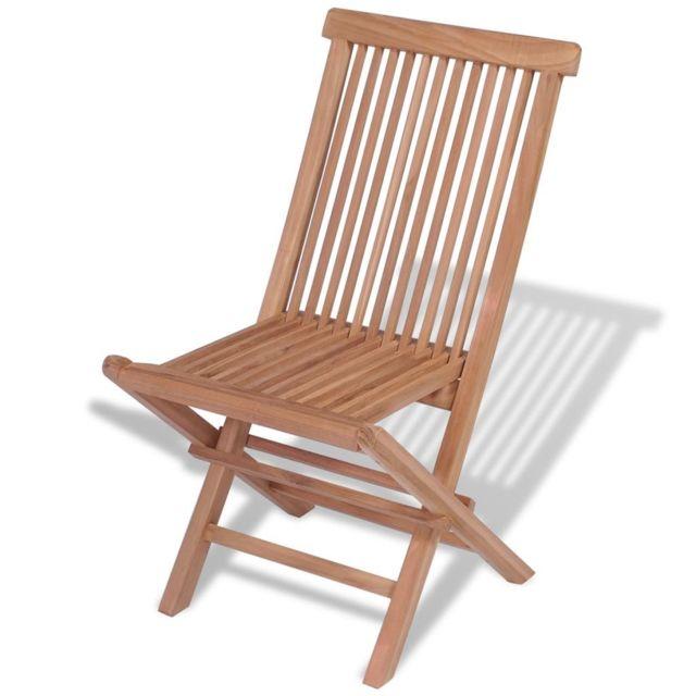 Chaise pliante d'extérieur sublime 4 pièces Teck massif
