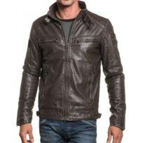 Deeluxe - Blouson marron effet cuir zippé et lanière fashion
