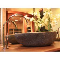 Ocean Line - Vasque de salle de bains à poser en pierre de rivière ø 40 cm - Eden-Roc