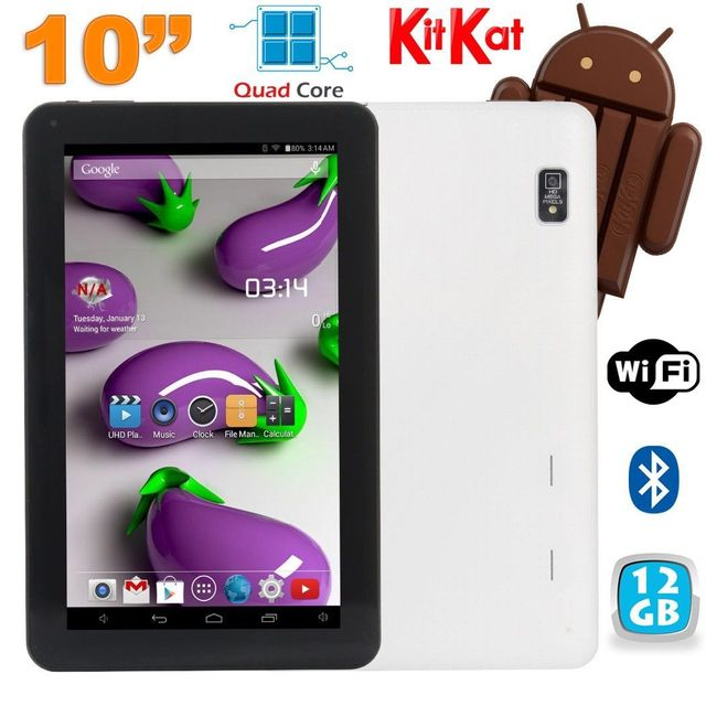 Yonis Tablette 10 pouces Quad Core Android 4.4 WiFi Bluetooth 12Go Blanc