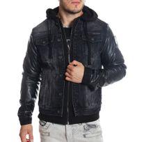 Cipobaxx - Cipo and Baxx - Veste en jeans noire doublée simili-cuir