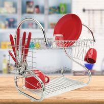 Idmarket - Égouttoir vaisselle chrome inox double niveau couverts assiettes