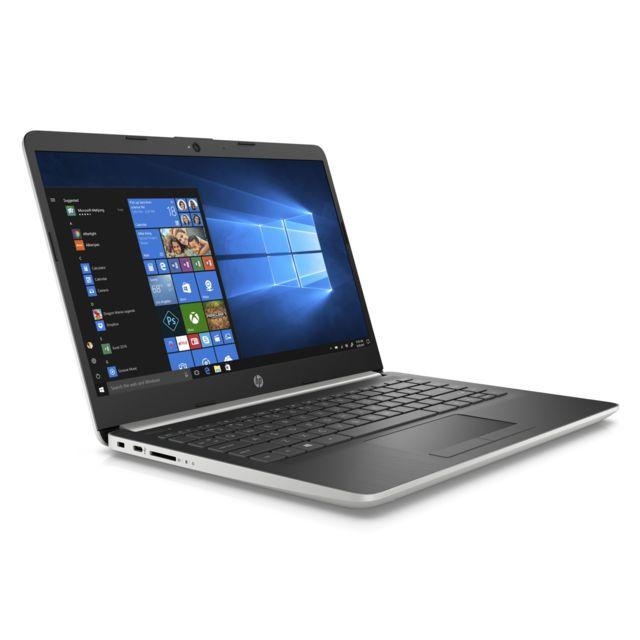 """HP 14-DK0050NF - Argent Ecran 14"""" Full HD IPSanti-reflets - Autonomie de 10h00 - Epaisseur de 19,9 mm - Poids de 1,47 kg - Clavier chiclet AZERTY - 2 haut-parleurs - HDMI - USB 3.1 / 3.1 Type-C - Webcam HD"""
