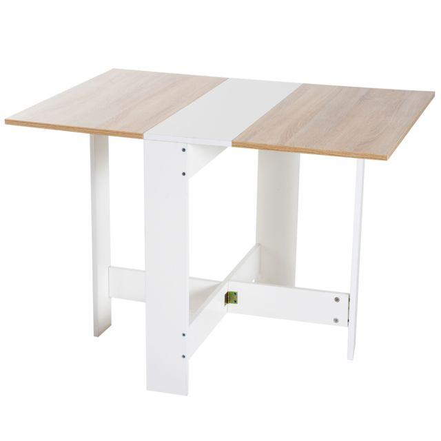 Homcom Table De Cuisine Pliable 103l X 76l X 74h Cm Panneaux