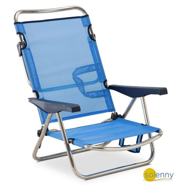 Chaise plage-lit positions en aluminium et textilne, patte du dossier  pliable
