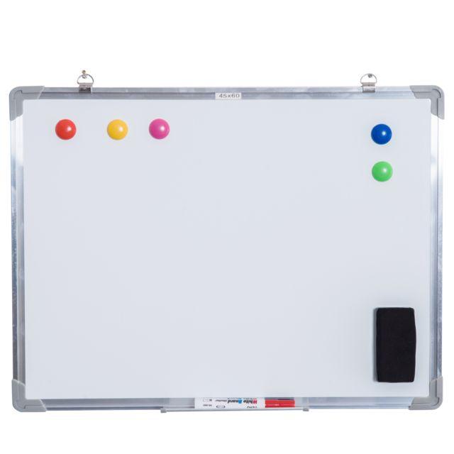 homcom - tableau blanc aimante magnetique cadre aluminium 60x45cm
