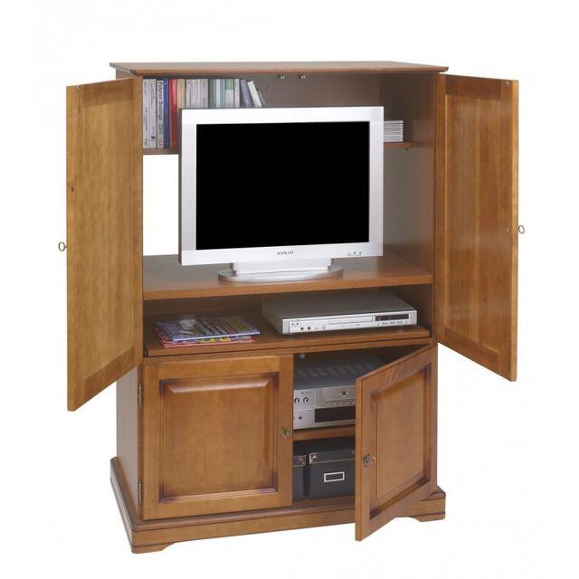 beaux meubles pas chers armoire informatique 4 portes plaqu e merisier 97cm x 141cm x 55cm. Black Bedroom Furniture Sets. Home Design Ideas