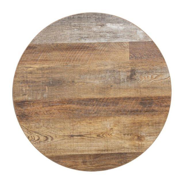 Materiel Chr Pro Plateau de Table Rond 600 mm - Effet Bois Vielli - Bolero - Effet bois vielli 600 Ø, mm