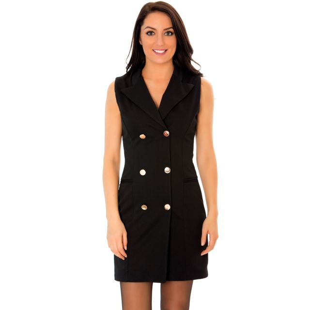 ae926cae6a31c Grossiste-en-ligne - Jolie Robe Noire blazer sans manches avec boutons. Robe