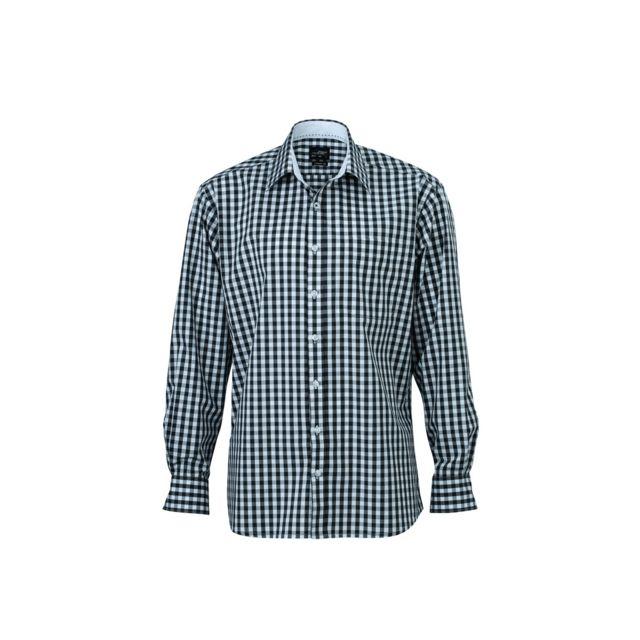 James & Nicholson chemise manches longues carreaux vichy Homme Jn617 - gris graphite