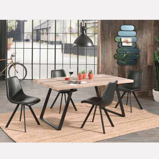 Table A Manger Industrielle Ellena 160x90 Cm En Bois Et Metal