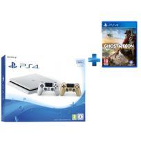 SONY - Playstation 4 Slim 500 Go Blanche + Dualshock 4 Gold + GHOST RECON WILDLANDS - PS4