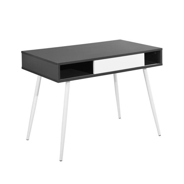 Calicosy Bureau à tiroir coulissant design noir et blanc