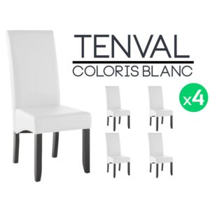 altobuy tenval lot de 4 chaises blanches pas cher achat vente chaises rueducommerce. Black Bedroom Furniture Sets. Home Design Ideas