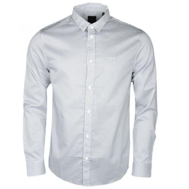 Armani Ea7 Chemise manches longues Armani Exchange blanche à motif carré régular fit pour homme