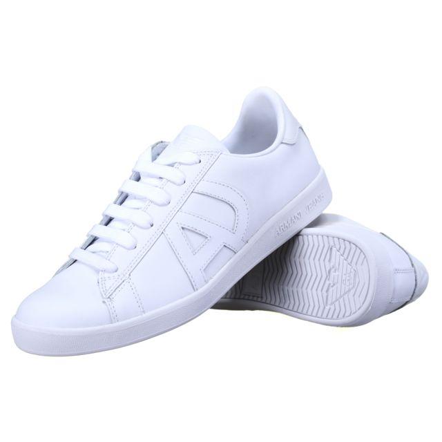 9d64f15a8500 Armani - Basket Jeans 06565 - Yo 10 Bianco - White - pas cher Achat   Vente Baskets  homme - RueDuCommerce