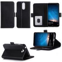 Xeptio - Huawei Mate 10 Lite : Housse Portefeuille luxe noire Cuir Style avec stand - Etui noir coque de protection smartphone 2017 /2018 avec porte cartes - Accessoires pochette case