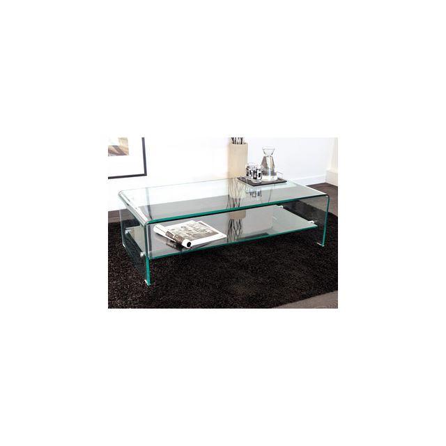 976fd7a90000d3 Axe design - Table basse rectangulaire en verre courbé transparent -  L110xP55xH35 cm - Hegoa