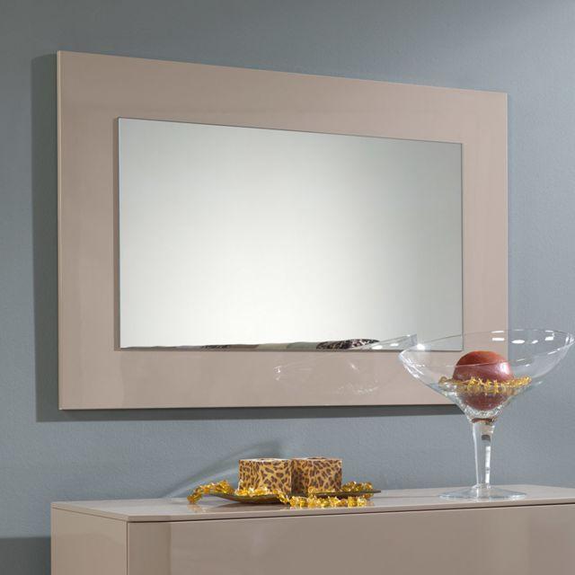 Nouvomeuble Miroir design 105x70 cm taupe laqué Tatimo
