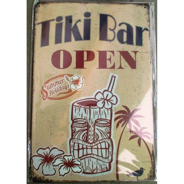 Universel Plaque tiki bar open mug fleur hibiscus tole deco diner us