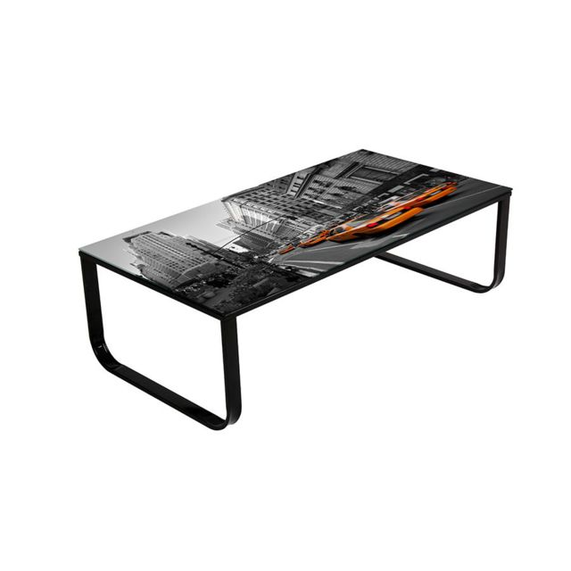 Sofamobili Table basse imprimé New-York noir design Taxi