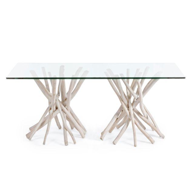 HELLIN Table en teck et verre - SUZANA