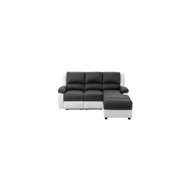 Sans Marque Relax Canape De Relaxation Dangle Droit 3 Places - Simili Blanc Et Gris - Contemporain - L 192 X P 147 Cm