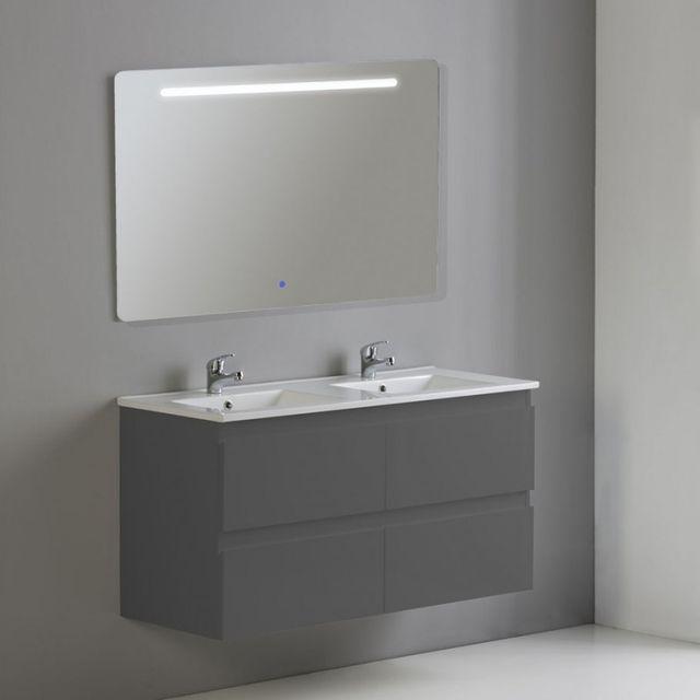 Rue du bain meuble de salle de bain 4 tiroirs 2 vasques et miroir led 120x46 cm gris - Meuble salle de bain rue du commerce ...