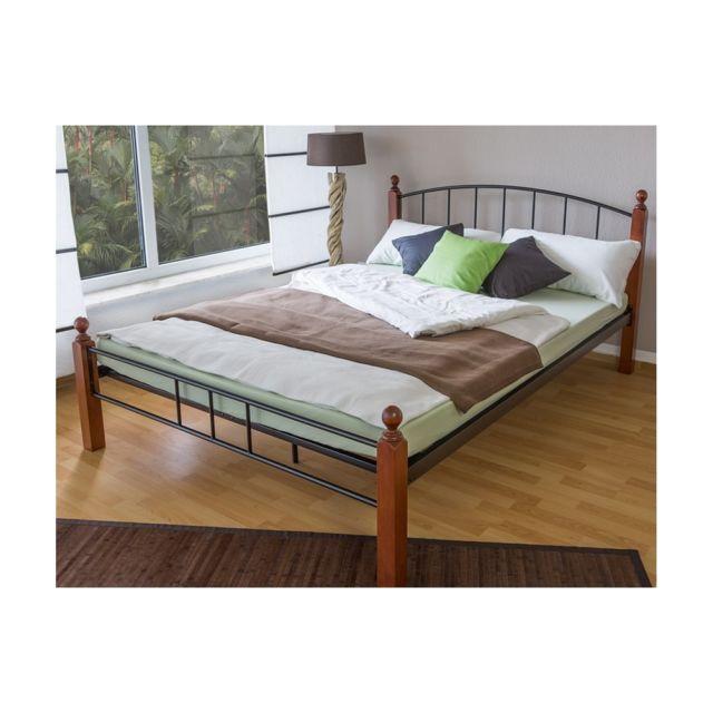 Homestyle4U Design metal lit double 140 x 200 cadre de lit lattes bois neuf noir brun