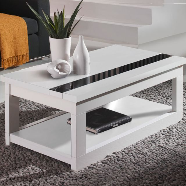 Nouvomeuble Table basse relevable design blanche Montreal 3