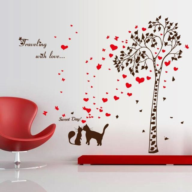 Quail   Quail   Sticker Mural Amoureux Couple Chats Coeur Arbre Décor