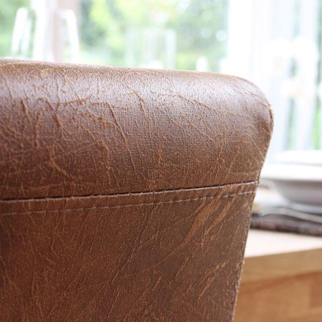 Decoshop26 Lot de 2 chaises de salle à manger simili cuir