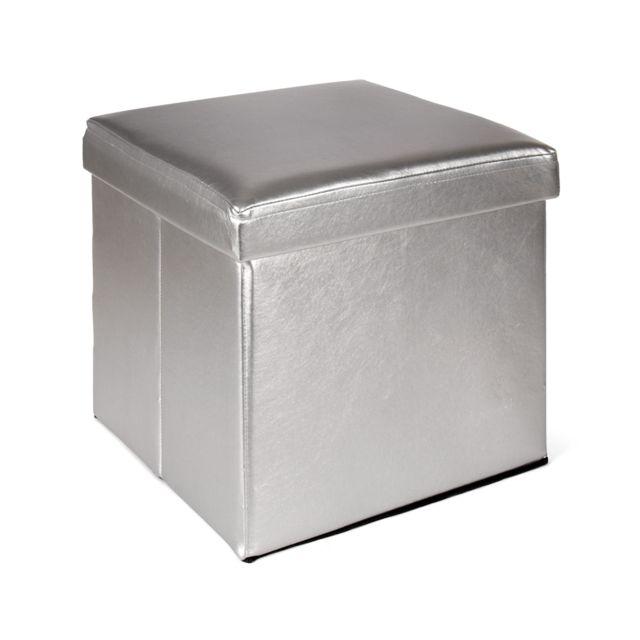 alin a metal pouf coffre couleur argent pliable pas cher achat vente poufs rueducommerce. Black Bedroom Furniture Sets. Home Design Ideas
