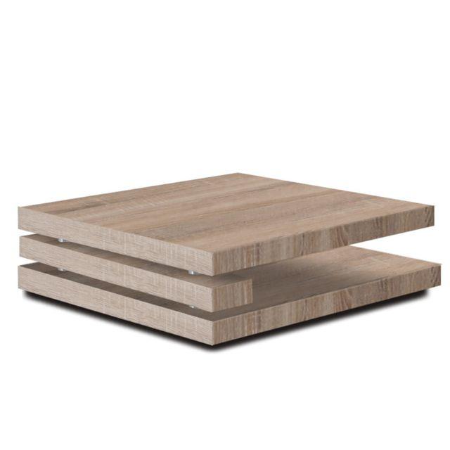 Sofamobili Table basse carrée couleur chêne clair design Flapy