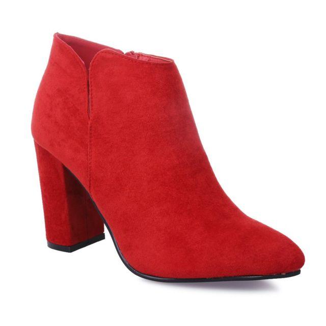 meilleure sélection éclatant grossiste Lamodeuse - Low boots rouges échancrées en suédine - pas ...