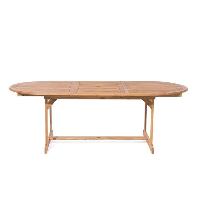 Table de jardin ovale extensible 160/220 x 100 cm en bois acacia Maui
