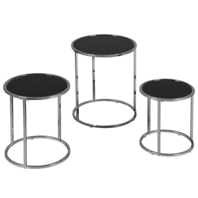 Tousmesmeubles Set de 3 tables gigognes - Karel