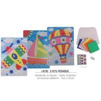 Santex - Set de 3 kits mosaïque numérotés avion - bateau - montgolfière + carrés de mousse + strass adhésifs - 16,5 x 23,5 cm