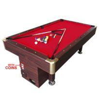 Simba - Billard Americain 8 ft Ulisse table de billard avec un monnayeur électronique Snooker - Dimensions 220 x 110 cm Rouge