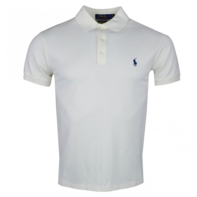 Ralph Lauren - Polo blanc crème en coton piqué slim fit pour homme - pas  cher Achat   Vente Polo homme - RueDuCommerce 3244628e21b