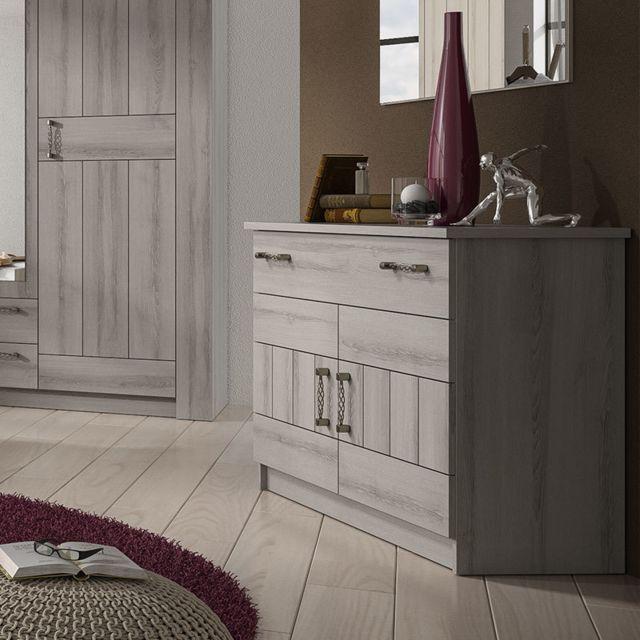 Nouvomeuble Commode 100 cm couleur chêne gris contemporain Luana