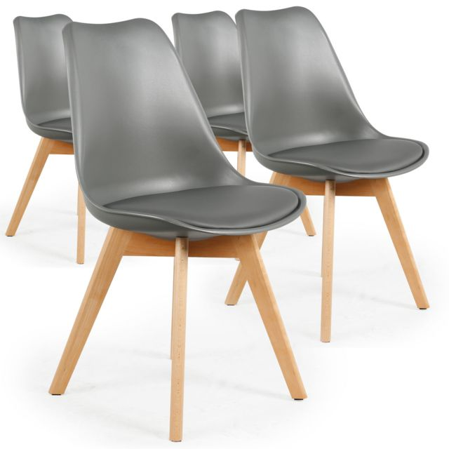 menzzo lot de 4 chaises style scandinave bovary gris. Black Bedroom Furniture Sets. Home Design Ideas