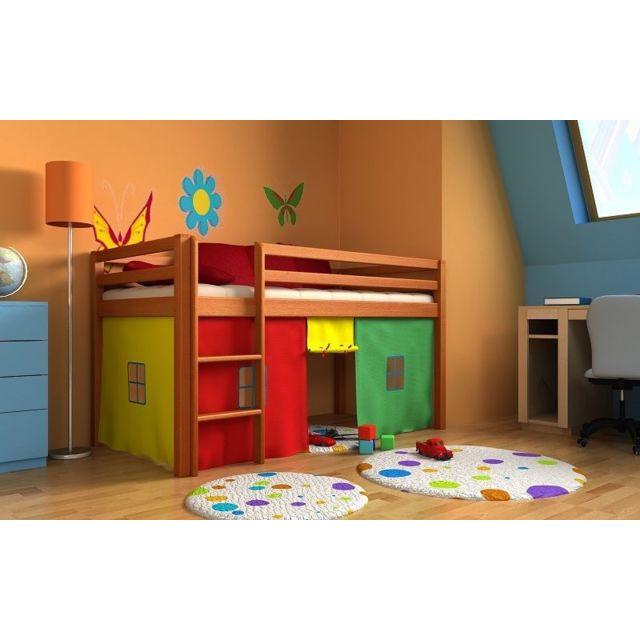 mpc lit enfant avec sommier matelas et rideaux bleus. Black Bedroom Furniture Sets. Home Design Ideas