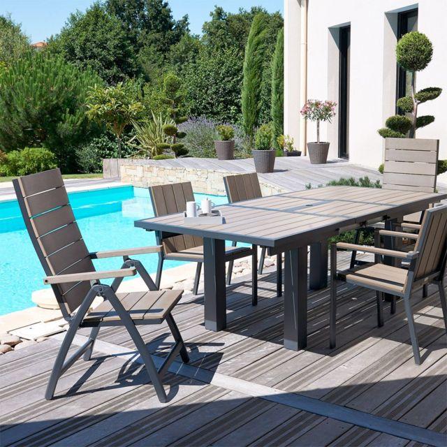 Dcb Garden - Salon de jardin - 6 fauteuils aluminium et composite + ...