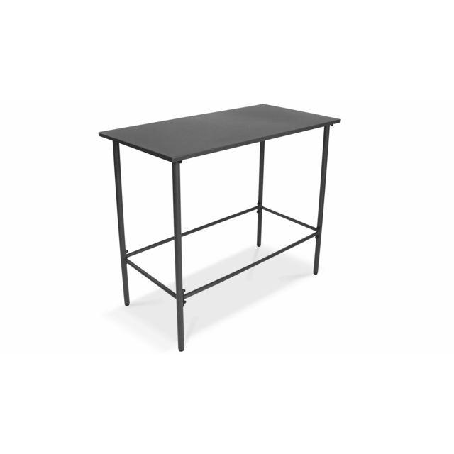 Table haute de jardin en métal, Palavas - Gris