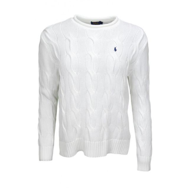 61fe9ef46321d Ralph Lauren - Pull col rond roulotté Ralph Lauren torsadé blanc pour homme