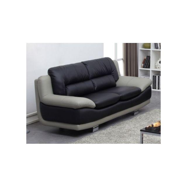 VENTE-UNIQUE Canapé 2 places en cuir THOMAS - Bicolore noir et gris