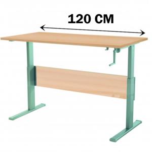 wellem bel bureau ergonomique r glable en hauteur par manivelle 120 cm rable clair pas. Black Bedroom Furniture Sets. Home Design Ideas