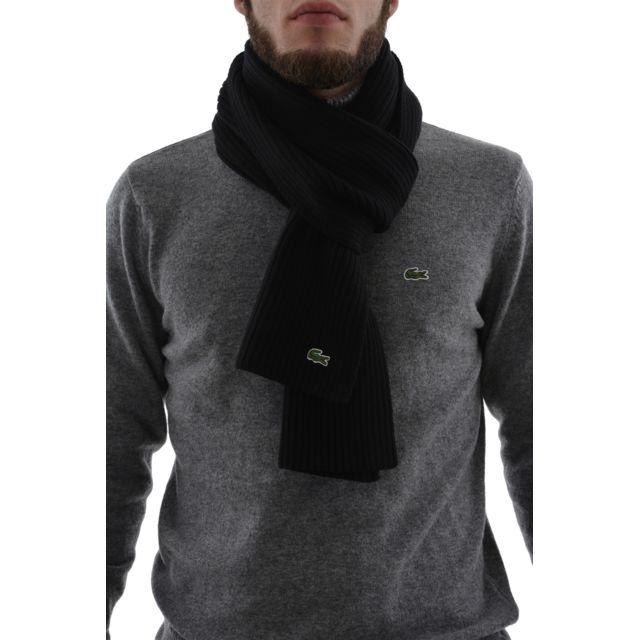 7e7064f3f68b Lacoste - Echarpe re4212 noir - pas cher Achat   Vente Echarpes, foulards -  RueDuCommerce